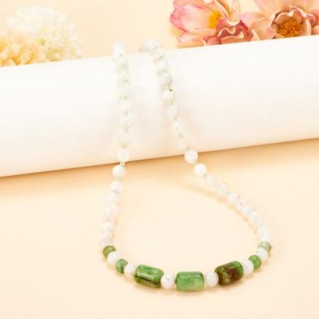 Бусы лунный камень, кианит зеленый 6 мм 72-80 см