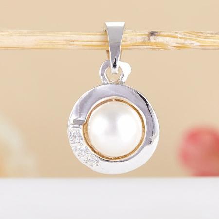 Кулон жемчуг белый  (серебро 925 пр.)