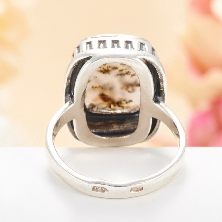 Кольцо агат моховой  (серебро 925 пр.) размер 16,5