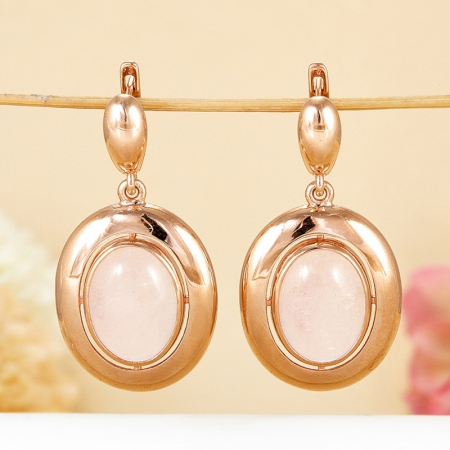 Серьги розовый кварц  (серебро 925 пр., позолота)Розовый кварц<br>Серьги розовый кварц  (серебро 925 пр., позолота)<br><br>kit: None