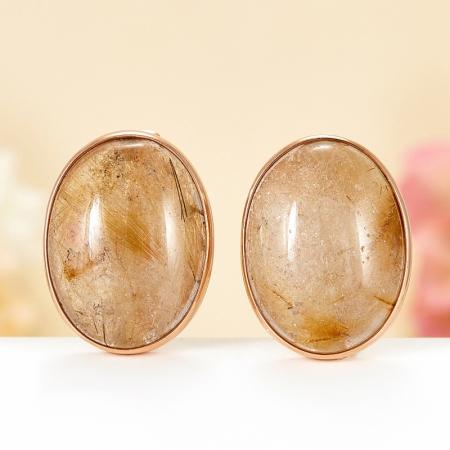Серьги рутиловый кварц  (серебро 925 пр., позолота)