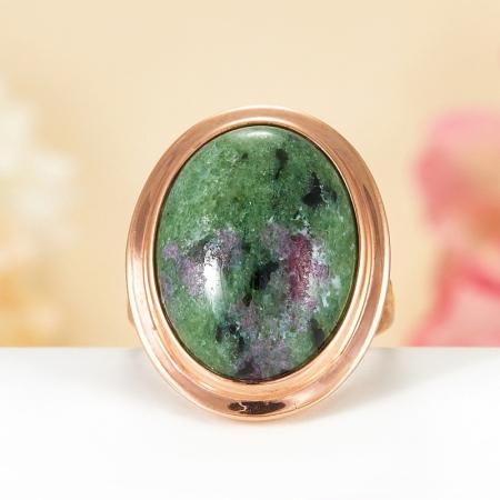 Кольцо цоизит  (серебро 925 пр., позолота) размер 17,5