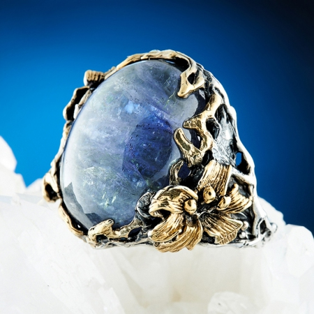 Кольцо танзанит  (серебро 925 пр., позолота) размер 18