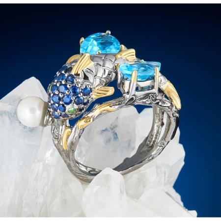 Кольцо Рыбка топаз голубой, сапфир, цаворит, жемчуг огранка (серебро 925 пр., позолота) размер 18