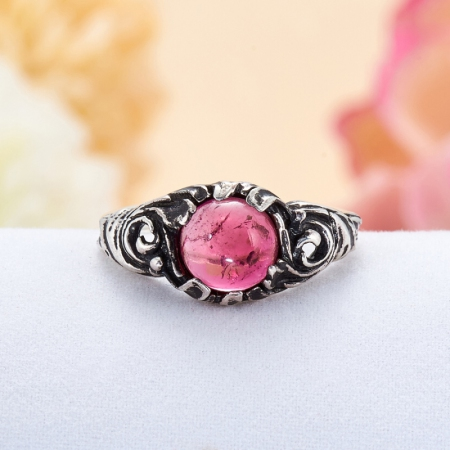 Кольцо турмалин розовый  (серебро 925 пр.) размер 16,5