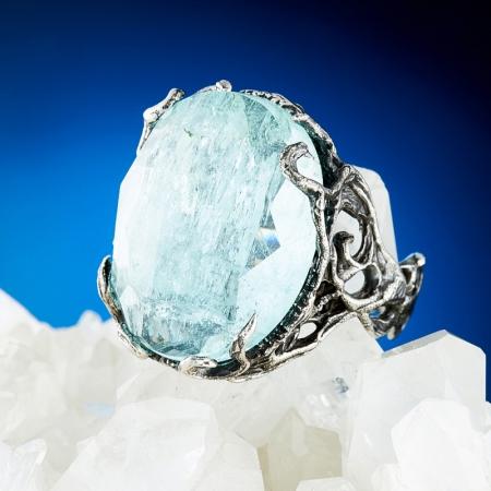 Кольцо аквамарин  огранка (серебро 925 пр.) размер 17,5