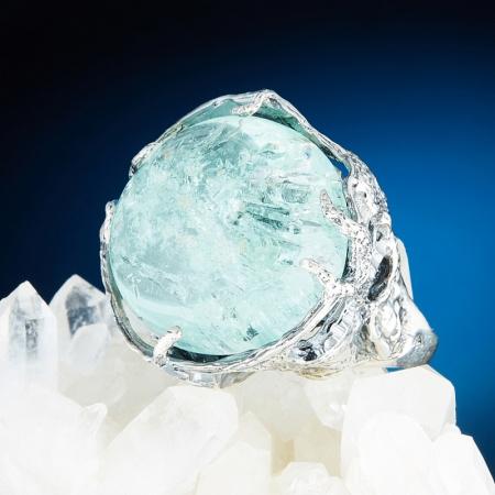 Кольцо аквамарин  (серебро 925 пр.) размер 17,5