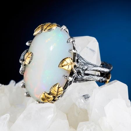 Кольцо опал благородный белый  (серебро 925 пр., позолота) размер 17Опал<br>Кольцо опал благородный белый  (серебро 925 пр., позолота) размер 17<br><br>kit: None