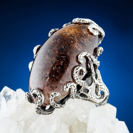 Кольцо солнечный камень  (серебро 925 пр.) размер 17