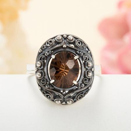Кольцо раухтопаз  огранка (серебро 925 пр.) размер 18,5