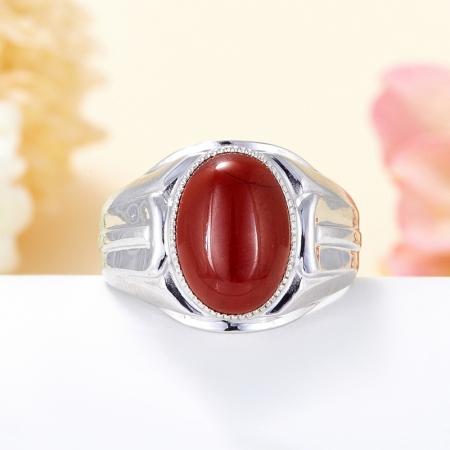 Кольцо яшма красная  (серебро 925 пр.) размер 21