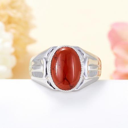 Кольцо яшма красная  (серебро 925 пр.) размер 22