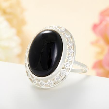 Кольцо агат черный  (серебро 925 пр.) размер 19,5