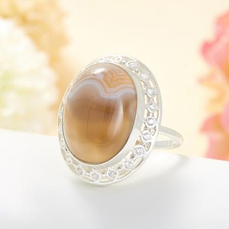 Кольцо агат серый  (серебро 925 пр.) размер 18,5Агат<br>Кольцо агат серый  (серебро 925 пр.) размер 18,5<br><br>kit: None