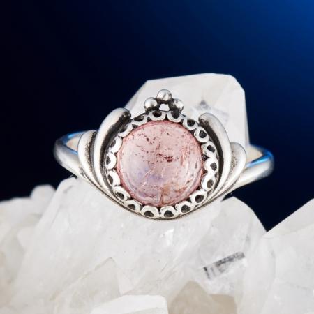 Кольцо турмалин розовый  (серебро 925 пр.) размер 17,5