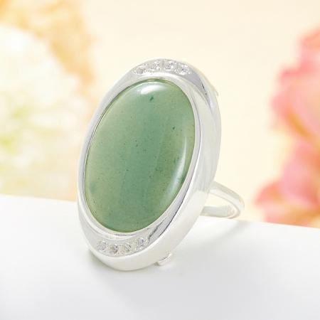 Кольцо авантюрин зеленый  (серебро 925 пр.) размер 19