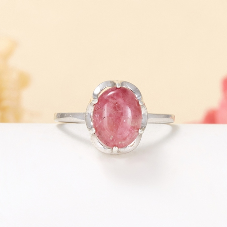 Кольцо турмалин розовый  (серебро 925 пр.) размер 18,5