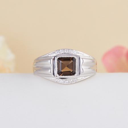 Кольцо раухтопаз  огранка (серебро 925 пр.) размер 21,5
