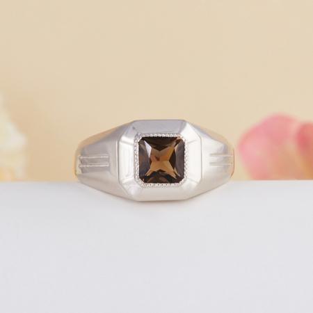 Кольцо раухтопаз  огранка (серебро 925 пр.) размер 22