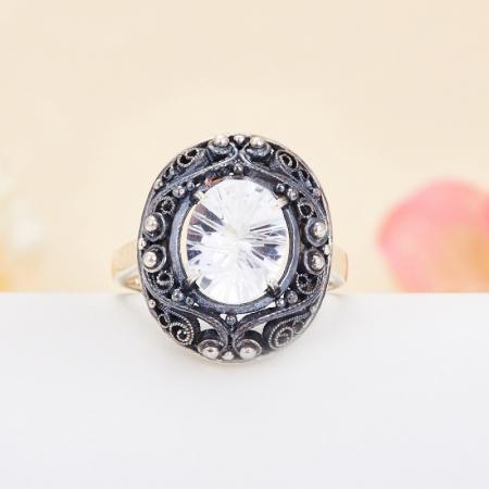 Кольцо горный хрусталь  огранка (серебро 925 пр.) размер 19 от Mineralmarket