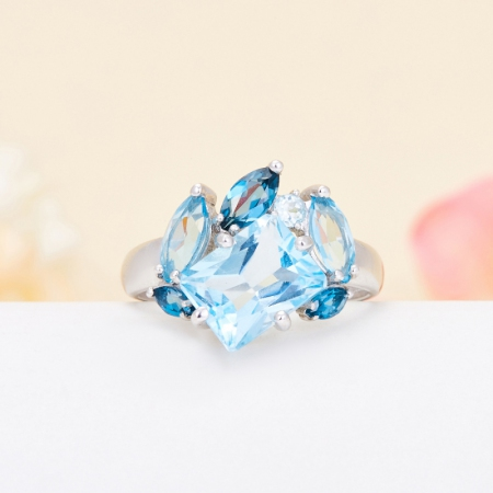 Кольцо топаз голубой, лондон  огранка (серебро 925 пр.) размер 17,5