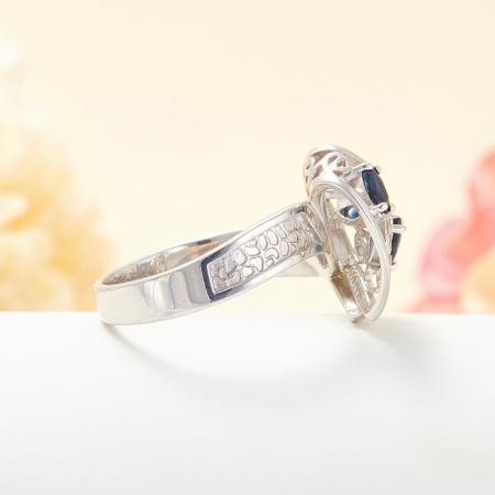 Кольцо сапфир  огранка (серебро 925 пр.) размер 18