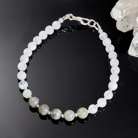 Браслет лунный камень, лабрадор 19 cм
