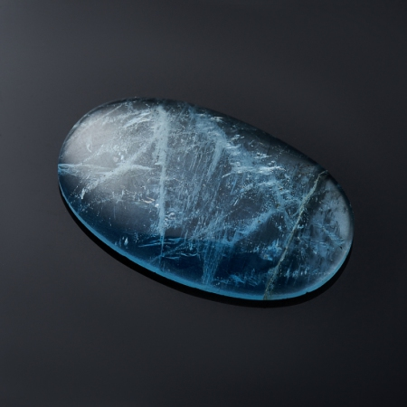 Кабошон аквамарин голубой с иризацией  3,4х16,2х25,5 мм