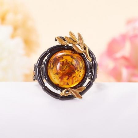 Кольцо янтарь пресс  (серебро 925 пр., позолота) размер 19,5