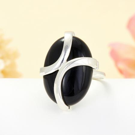 Кольцо агат черный  (серебро 925 пр.) размер 18