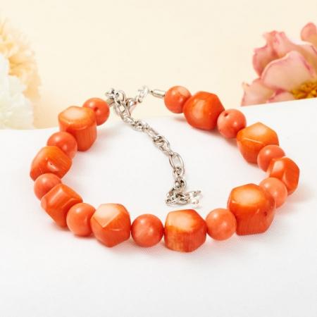 Браслет коралл оранжевый  7 мм 19-26 cм