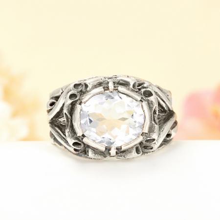 Кольцо горный хрусталь  (серебро 925 пр.) размер 20