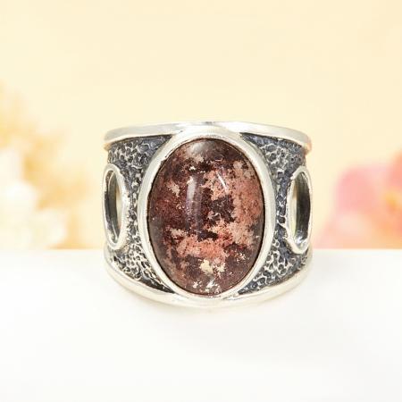 Кольцо кварц с хлоритом  (серебро 925 пр.) размер 19