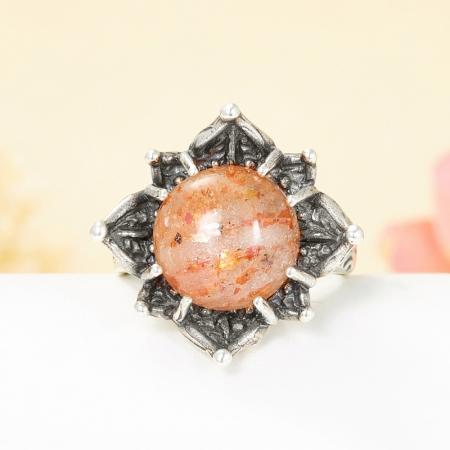 Кольцо солнечный камень  (серебро 925 пр.) размер 17,5