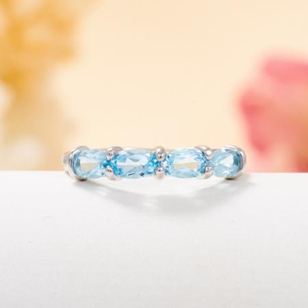 Кольцо топаз голубой  огранка (серебро 925 пр.) размер 16
