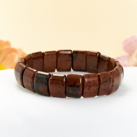 Браслет обсидиан коричневый  15 cм