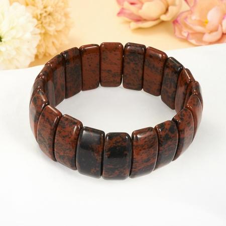 Браслет обсидиан коричневый  19 cм