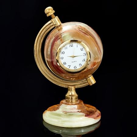 Часы глобус оникс  12 см