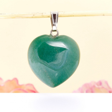 Кулон сердечко авантюрин зеленый  25х30 мм