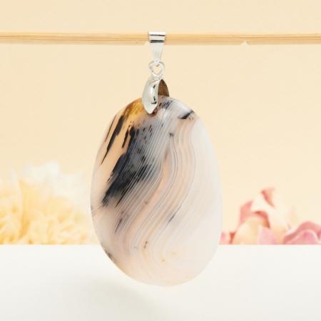 Кулон овал агат серый  5,5 см