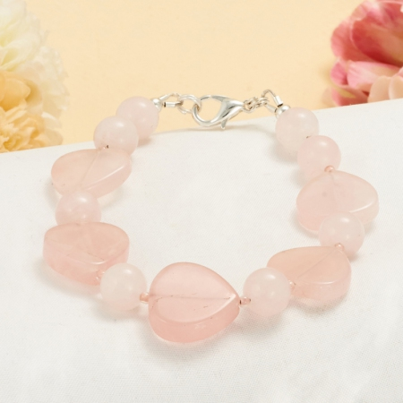 Браслет розовый кварц  17 cм