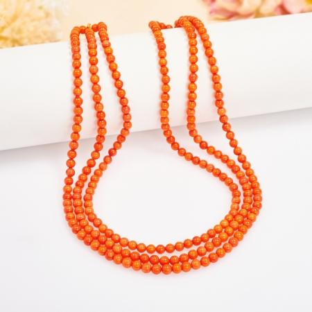 Бусы коралл оранжевый  4 мм 48 см