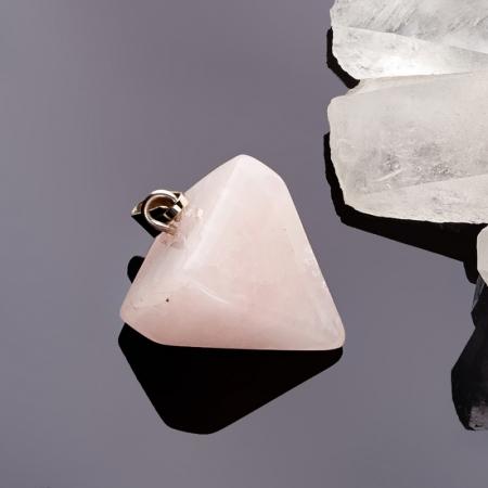 Кулон маятник розовый кварц  2,5 см