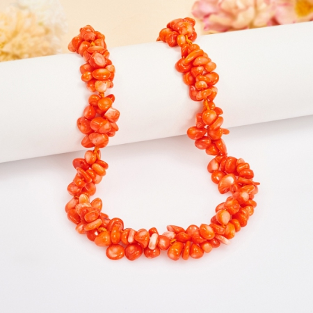 Бусы коралл оранжевый  49 см