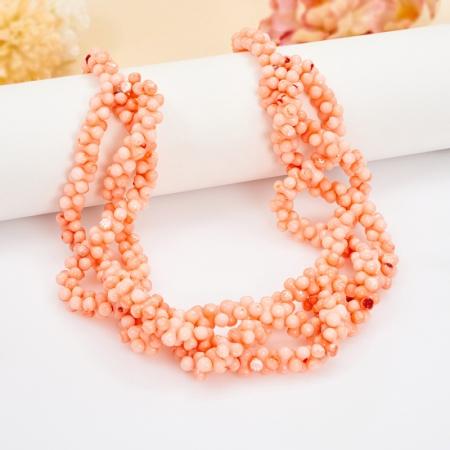 Бусы длинные коралл розовый  68 см
