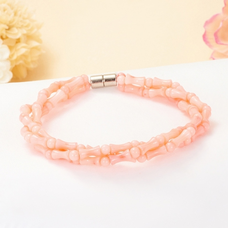 Браслет коралл розовый  16 cм