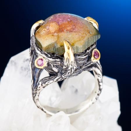 Кольцо турмалин полихромный  (серебро 925 пр., позолота) размер 18
