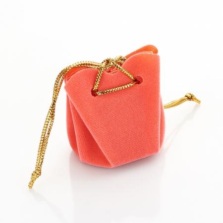 Подарочная упаковка универсальная (мешочек объемный коралловый) 35х35х40 мм