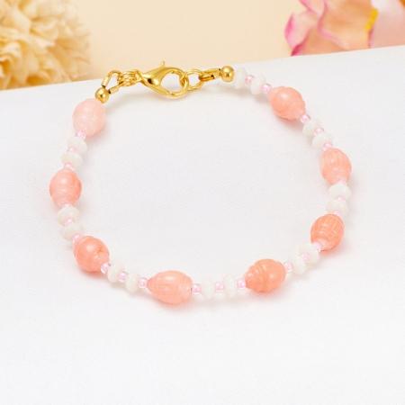 Браслет коралл розовый, белый  15 cм