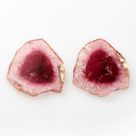 Комплект вставок турмалин розовый  (срез) 26*28 мм (2 шт)